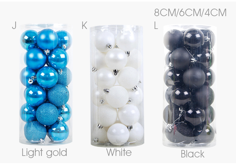 07 inhoo 24PCSset Christmas ornament 468cm Christmas Tree Balls Baubles Xmas for Home Party Colorful Wedding Decoration Supplies