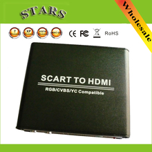 720P 1080P Scart CVBS/RGB/YC to HDMI HD Video Up Scaler converter with Power Adapter For HDTV DVD STB,wholesale free shipping