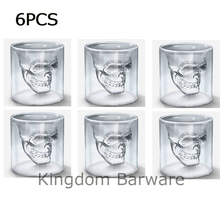 Free Shipping 6PCS 75ML Skull Head Vodka Shot Glass Drinking Ware for Home Office Bar Set of 6(China)