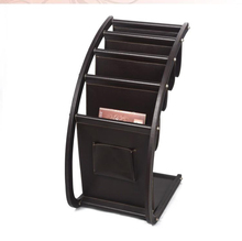 large wood PU leather brown floor magazine newspaper exhibition display rack shelf organizer holder brown 229B