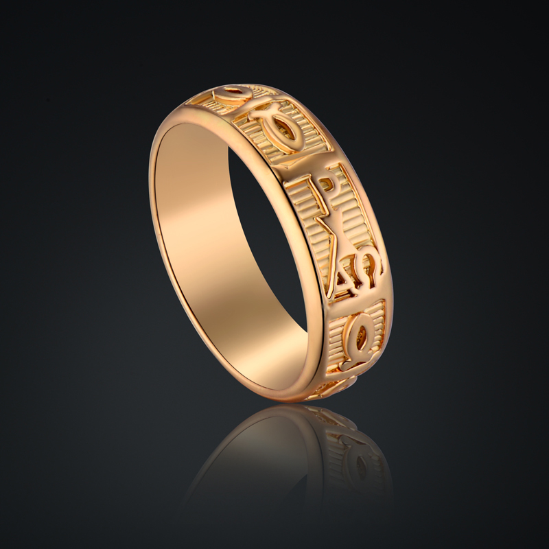 Egyptian Ring New Men/Women Gifts Gold-Color Mens Gold Rings 6MM Classic Antique Wedding Bands Rings for Men Egyptian Jewelry(China (Mainland))
