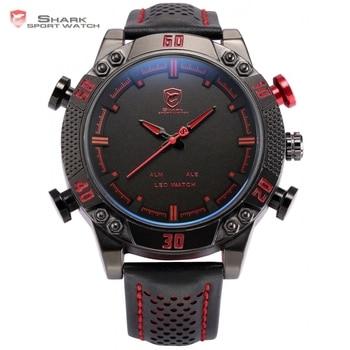 Kitefin Shark Sport Reloj Análogo de Cuarzo de Lujo Negro Rojo LED Digital Fecha Día Alarma Ejército de Cuero Impermeable Relojes Para Hombre/SH261