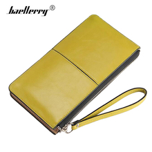 Women Wallets Long Oil Wax Leather Organizer Woman Wallet Female Zipper Vintage Lady Clutch Carteira Feminina Big Purse(China)