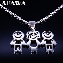 Stainless Steel Mama Children Statement Necklace Jewelry Doll Pendant Necklaces Jewellery Best friend Necklace Women Kids N3510