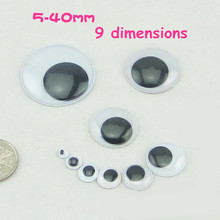 5,8,10,12,15,20,25,30,40mm black eyeballs,Plastic wiggle eyes,Wiggly eyes,Moving Doll eyes,DIY accessories,Craft material round(China)