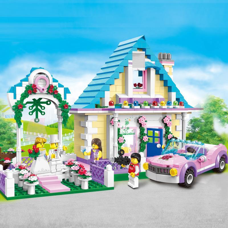 New City Marriage Room Block Wedding Bridegroom Princess Castle Bricks Playmobil diy Toys girls compatible legoes gifts kid set<br>