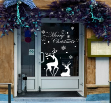 Removable Christmas Shop Window Display White Snowflakes Reindeer Decorative Wall Stickers