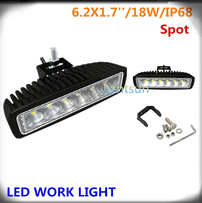 best selling auto parts small led lighting bar 18w spot light bar black waterproof IP68<br><br>Aliexpress