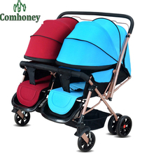 Baby Stroller Twin Stroller for Infant Four Wheel Double Seat Pushchair Folding Two Babies Twins Stroller Newborn Poussette Pram