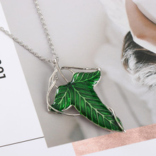 2018 Trendy The Hobbit Vintage Elf Green leaf necklace pendant Pin Lord of the Rings Ne(cklace)wholesale(China)