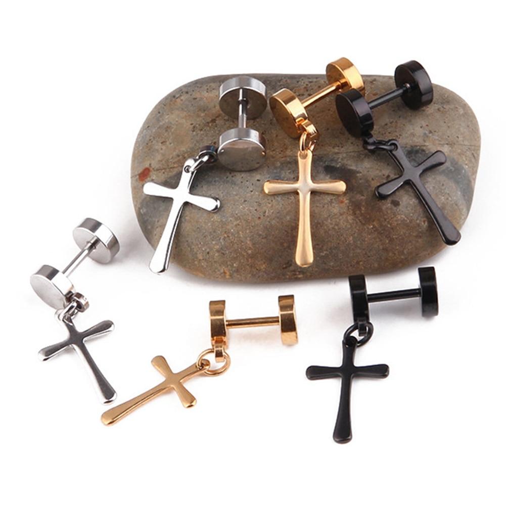 Black Cross Earring Unisex Hipster Personality Street Titanium Steel Earring