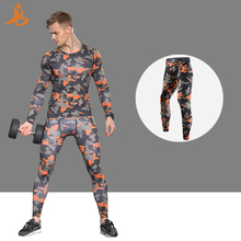 YDbrand high quality men's printing Sports set Quick Dry Fitness Tights Polyester sport suit Long Sleeve Shirt Pant running suit(China)
