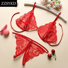 Buy ZZSYKD Lace Bra Set Transparent Bikini Aesthetic See Sexy Bra Panty Set Lingerie Suit Fashion Intimate Underwear Top