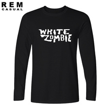 2016 new white zombie long sleeve t-shirt cotton tops tees men casual homme free shipping t shirt plus(China)