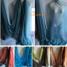 Ombre Bridal Dress Material Pure Silk Chiffon Fabric
