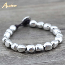 Anslow Sale New Design Handmade DIY Zinc Alloy Beads Unique Silver Plated Friendship Wrap Bracelets Birthday Day Gift LOW0497LB(China)
