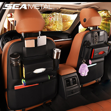 Car Seat Back Storage Bag Organizer Travel Box Pocket PU Leather Universal Stowing Tidying Protector Kids Drink Auto Accessoires(China)