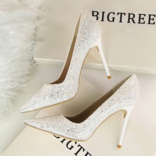 BIGTREE Spring Autumn Shallow mouth Pointed women pumps shine Sequins Sexy Thin Nightclub 9.5 CM Fine high heels shoes(China)