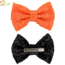 "10pcs/lot Free Epacket/CPAP 4"" Halloween Orange Black Sequin Messy Bow with clips, For you DIY Infantile Kids Jersey Headband"