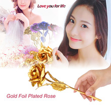 24k Gold Foil Plated Rose Creative Gifts Lasts Forever Rose for Lover's Wedding Christmas Day Gifts with Retailed Box(China)