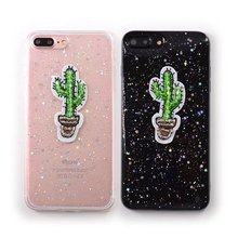 2017 Cute Cartoon Silicone Cactus Plants Smooth Case For iPhone 6 6s 6Plus 7 7Plus Case Soft TPU Phone Cases Cover Sparkling