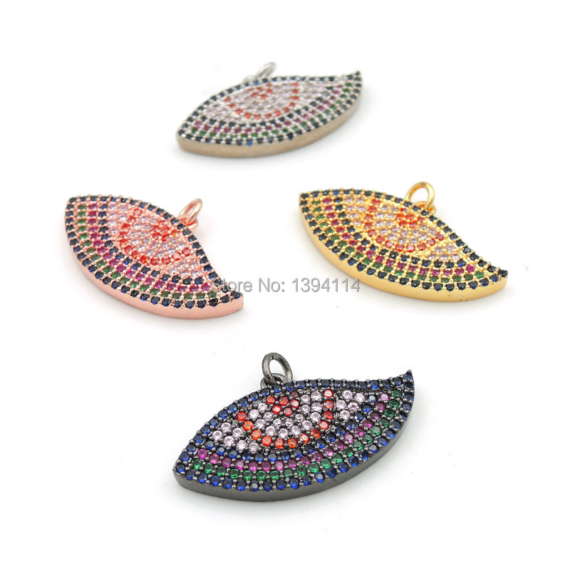 30*15*3mm Micro Pave Mixed Colors CZ Evil Eye Charm Fit For Making DIY Bracelets Or Necklaces Jewelry