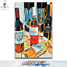 DIY colorings pictures by numbers with colors Still life wine bottle picture drawing painting by numbers framed decor Two pieces(China)