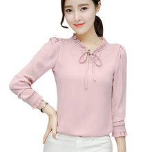 Elegant 2018 Shirts Blouse Chiffon OL Women Long Sleeve Stand Collar Bow White Tops Office Wear Slim Blusa Black/Pink/Navy Blue(China)