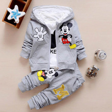 Boutique Children's Clothing Sets 3pcs Kid Baby Boy Girls Hooded Coat + Shirt +Pants Outfits Autumn Cotton Mickey Sports Clothes