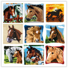 Cushion Latch Hook Kit Pillow Mat DIY Craft Horse 42CM by 42CM Cross Stitch Needlework Crocheting Cushion Embroidery(China)