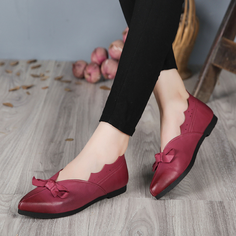 2017 VALLU Genuine Leather Women Shoes Flats Pointed Toes Bowtie Handmade Vintage Women Shoes Loafers <br><br>Aliexpress