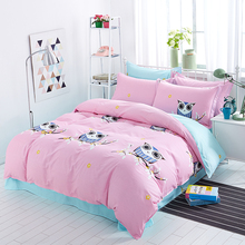 2017 Hot Selling Owl Cat Comforter Bedding Set Cartoon Cotton Queen Size For Kids Bed Duvet Cover Bed Sheet Bed Linen Pillowcase