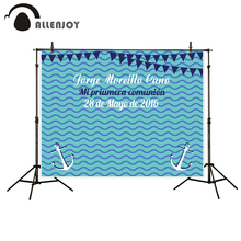 Allenjoy camera photography Anchors Communion background party backdrop wavy blue flags sea theme backgrounds for photo studio(China)