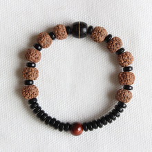 Wholesale Ethnic Natural Coconut shell With Rudraksha Tiger eye Beads Bracelet Unisex Healthy Jewelry Tibetan Stretch Bracelet(China)