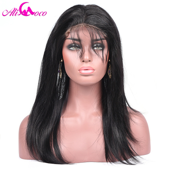Али Коко волосы перуанский прямые волосы 360 кружева фронтальной 100% человеческих волос 130% Плотность Бесплатная доставка