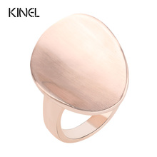 Kinel Fashion Original Style Heavy Metal Rings For Women Color Rose Gold Big Oval Punk Rock Ring Women's Jewelry Gift 2016 New