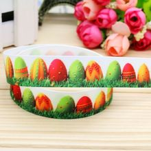 7/8'' Free shipping easter printed grosgrain ribbon hair bow headwear party decoration wholesale OEM 22mm H4575
