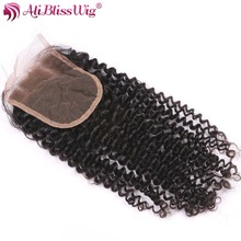 AliBlissWig Kinky Curly Closure 3.5*4 Three Part Natural Color Brazilian Remy Hair Lace Closure Swiss Lace Light Bleached Knots