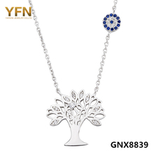 GNX8839 100% Real Pure 925 Sterling Silver Necklace Tree of Life Jewelry Cubic Zirconia Family Charm Necklace For Women