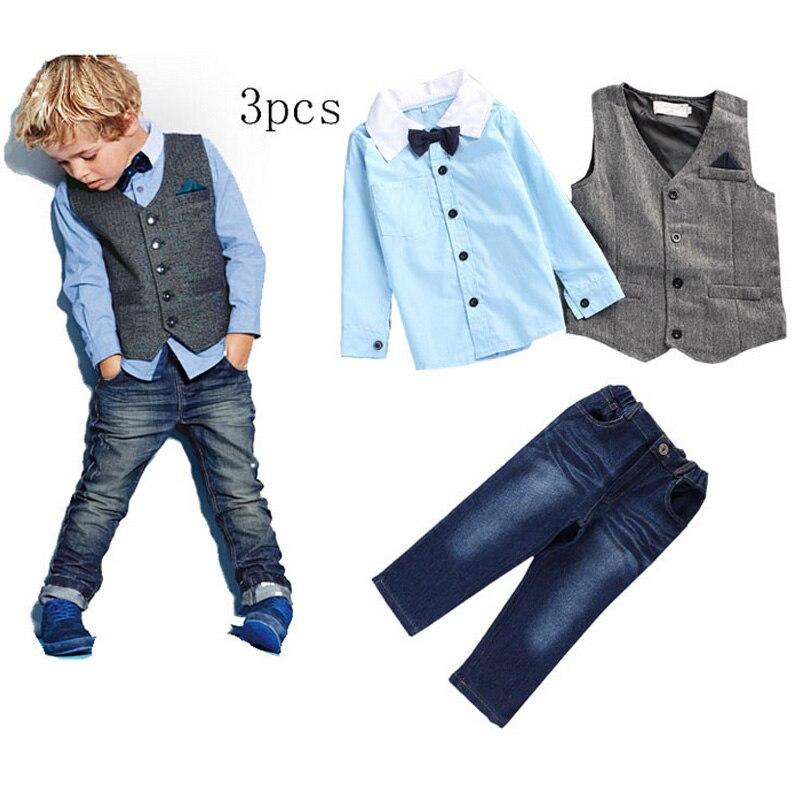 2017 Fashion Boy Set Gentleman Suit Formal Vest+Shirt Boy Set Clothes Winter Baby Boys Clothes for Weddings Formal Clothing Set <br><br>Aliexpress