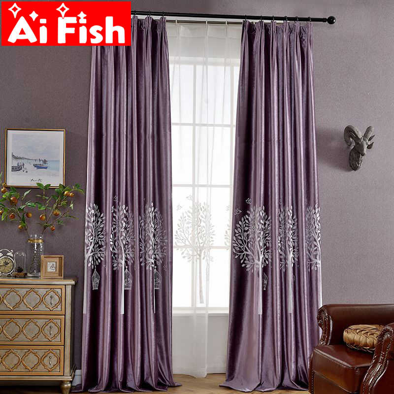 Luxury Purple Plant Embroidered Curtain For Bedroom White Window Voile Blue Velvet Blackout Curtains For Living Room DF031-40