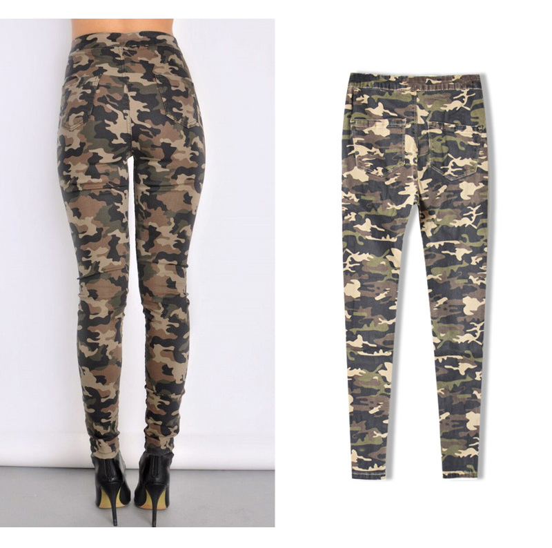 2017 New Brand Women Fitness Cloth Camouflage High Waist Elastic Stretch Holes Jeans Pencil Pants Street Style Denim Trousers (10)