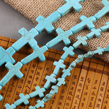 40cm Blue Turquoises Cross Stone Beads Loose Spacer Beads for DIY Jewelry Making 8x10 12x16 15x20 18x25 20x30 22x30 25x35mm(China)
