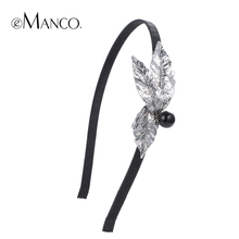 //Leaf hairband silver black minimalist jewelry pretty hairbands// metal headbands for women 2016 summer style eManco HA0577(China)
