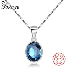 Forewe New 925 Sterling Silver Sea blue Crystal Round  Pendant Necklace for Women Fashion Jewelry Birthday wedding Gift