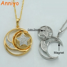 Anniyo Islamic Necklace W/Cubic Zirconia and Magnet,Gold Color/Silver Stars Moon Pendant Arab Jewelry Middle East Gift #040504