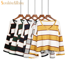 women fashion winter Autumn sweet stripe sweater candy color v-neck pullovers sweet ladies knitting cute sweater knit tops(China)