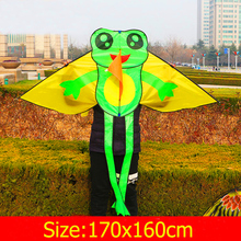 Free shipping high quality lovely frog kite handle children kite flying wholesale nylon ripstop fabric foil kite outdoor fun