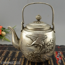 Antique copper brass plated silver bronze collection Tea hip flask Pine crane hand pot Home furnishing articles adornment