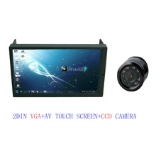 Free Shipping High Brightness 2DIN 7 Inch LED Touch Screen Monitor with VGA and Auto Switching AV2 + CCD Reverse Camera(China)